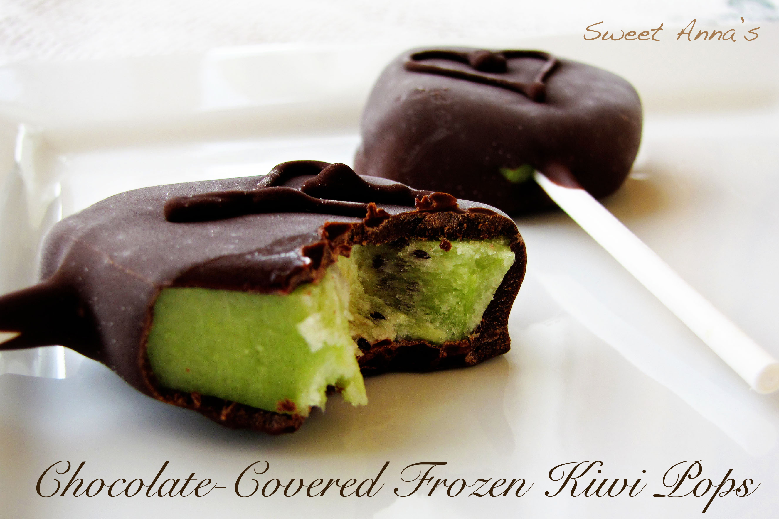 Chocolate Covered Frozen Kiwi Pops | Sweet Anna's