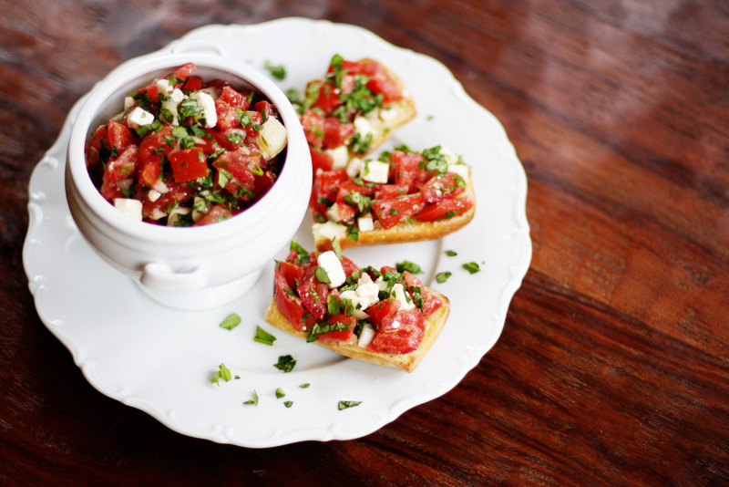 Tomato Feta Salad or Bruschetta | Sweet Anna's