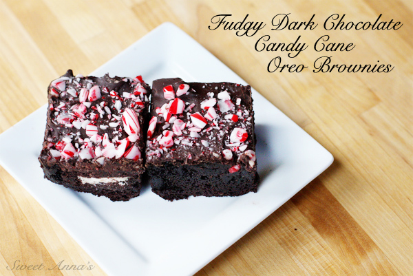 fudgy dark chocolate candy cane Oreo brownies | Sweet Anna's