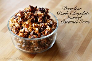 decadent dark chocolate swirled caramel corn