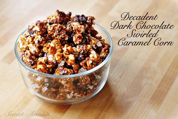 decadent dark chocolate swirled caramel corn | Sweet Anna's