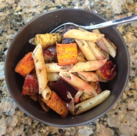 pasta with roasted winter veggies & browned butter