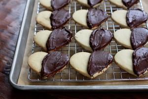 dark chocolate almond shortbread hearts