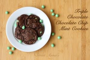 triple chocolate, chocolate chip mint cookies