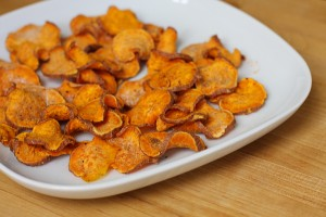 easy, homemade microwave sweet potato chips