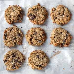 whole wheat coconut chocolate chip oatmeal cookies