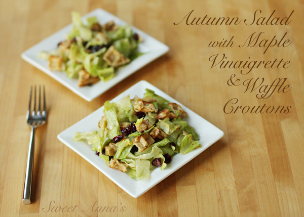 autumn salad with maple vinaigrette and waffle croutons | Sweet Anna's