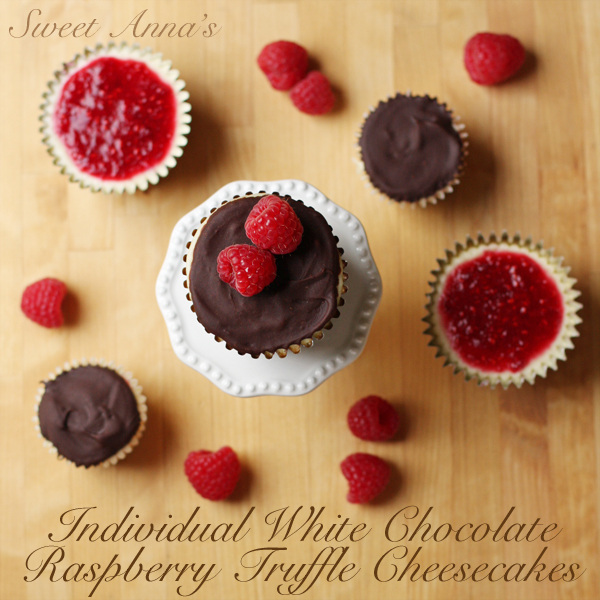 individual white chocolate raspberry truffle cheesecakes | Sweet Anna's