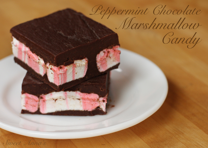 easy peppermint chocolate marshmallow candy | Sweet Anna's