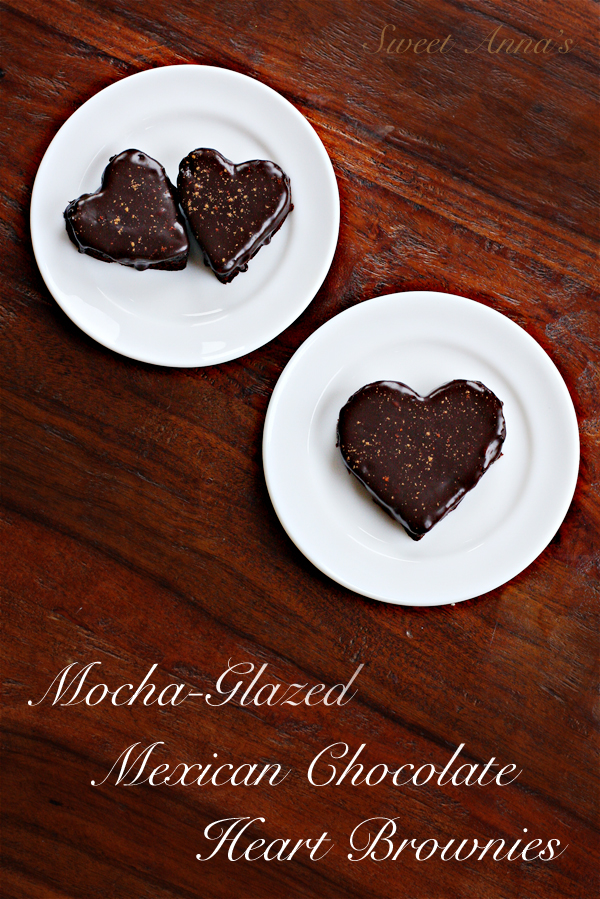 Mocha Glazed Mexican Chocolate Heart Brownies | Sweet Anna's