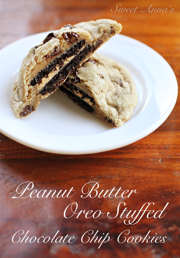 Peanut Butter Oreo Stuffed Chocolate Chip Cookies | Sweet Anna's