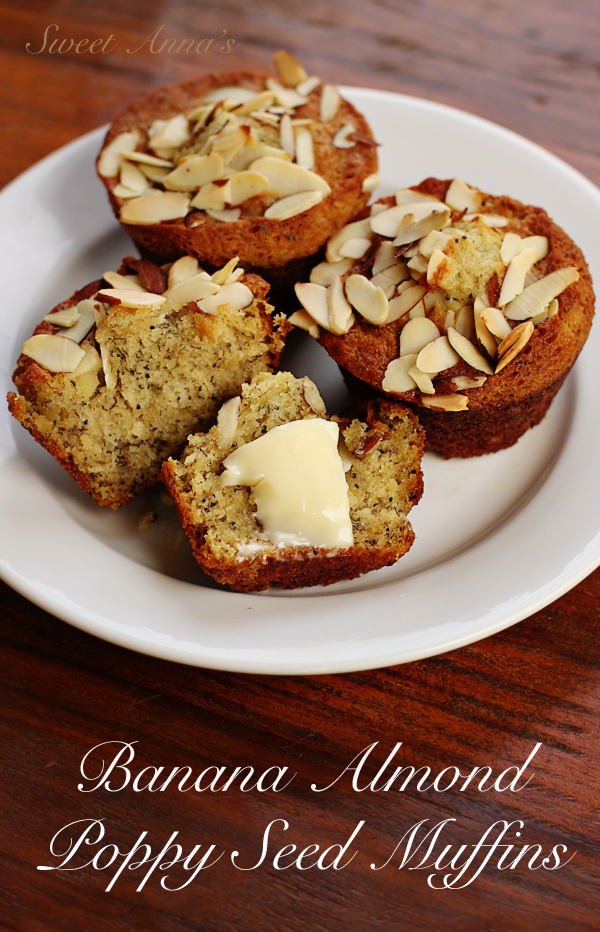 Banana Almond Poppy Seed Muffins | Sweet Anna's