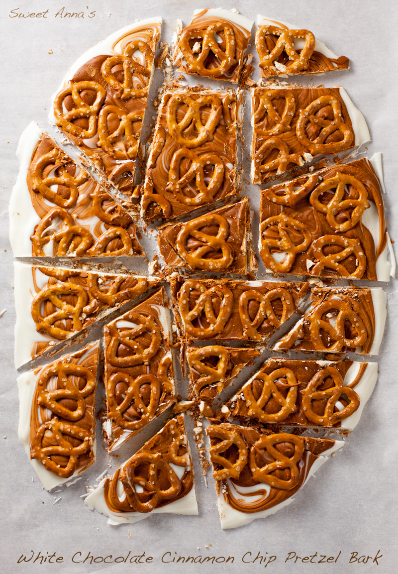 White Chocolate Cinnamon Chip Pretzel Bark | Sweet Anna's