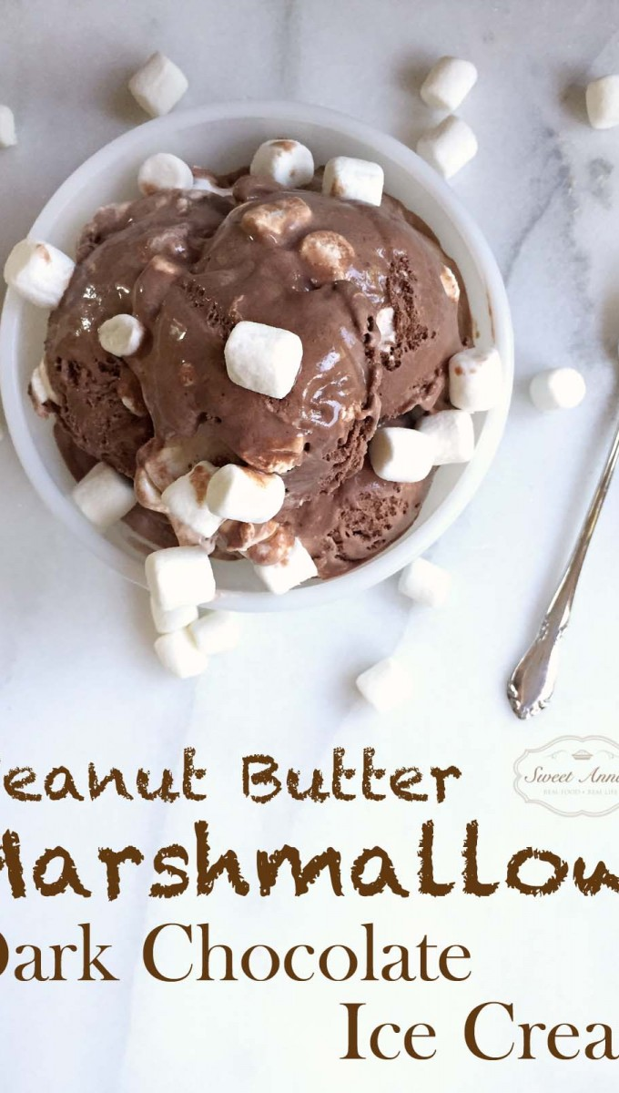 Homemade Peanut Butter Marshmallow Dark Chocolate Ice Cream