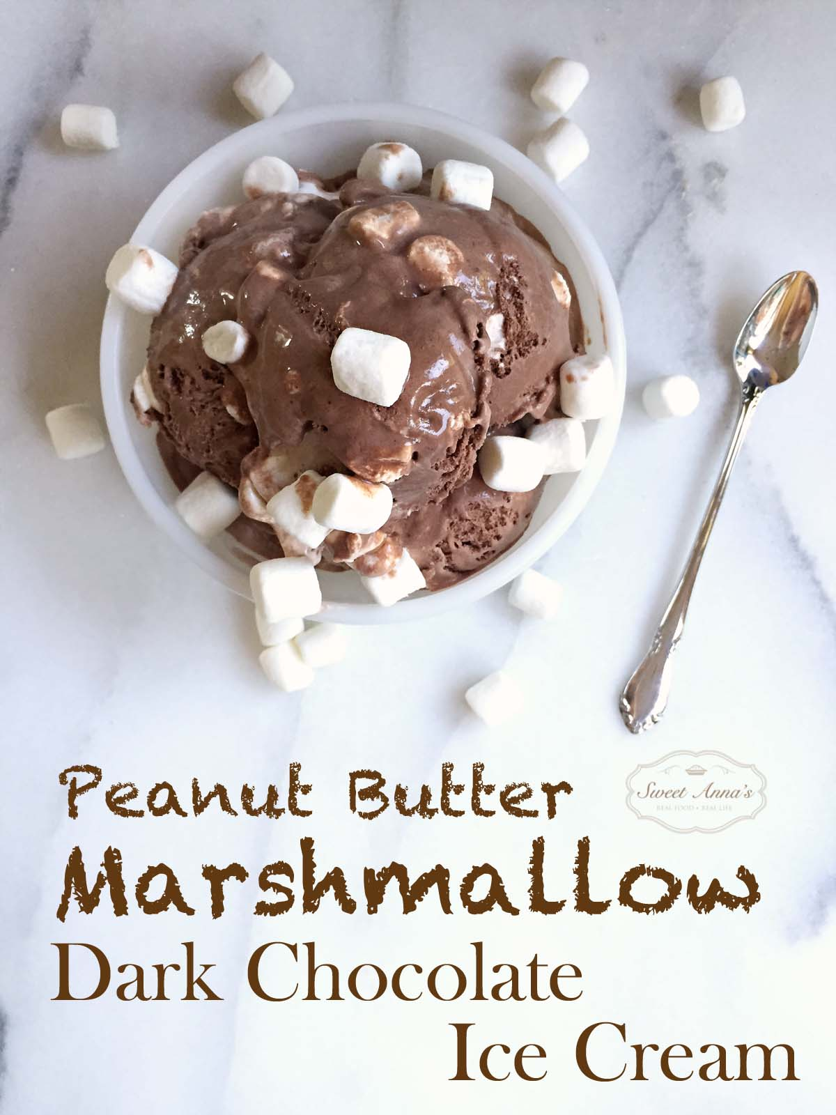 Homemade Peanut Butter Marshmallow Dark Chocolate Ice Cream - whip this up in your ice cream maker and you'll never have to run to the store for Ben & Jerry's again! | sweetannas.com