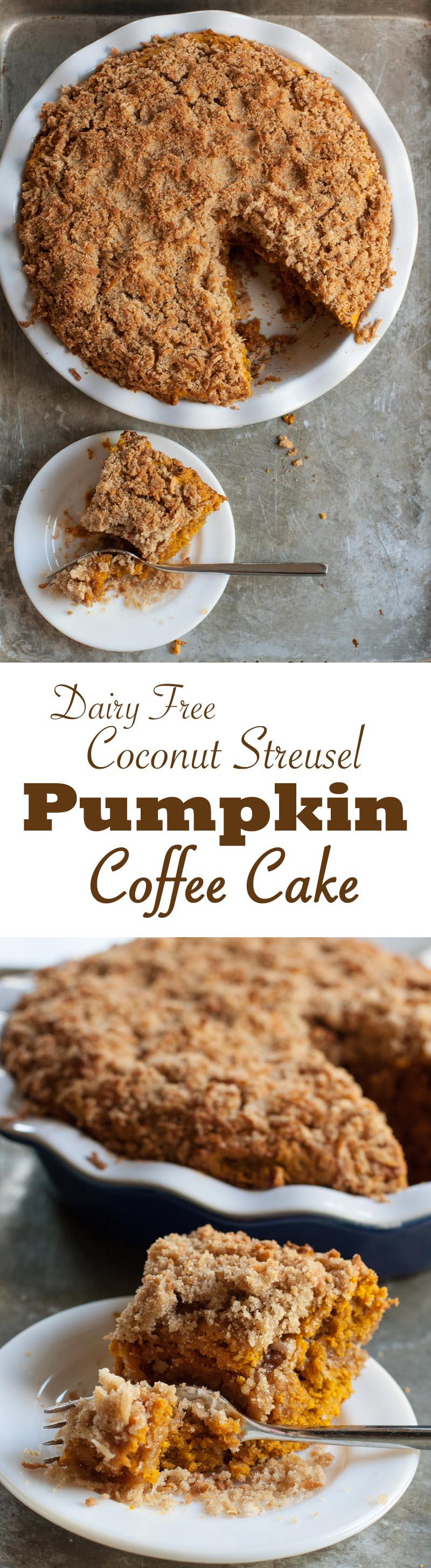 Dairy Free Coconut Streusel Pumpkin Coffee Cake | Sweet Anna's