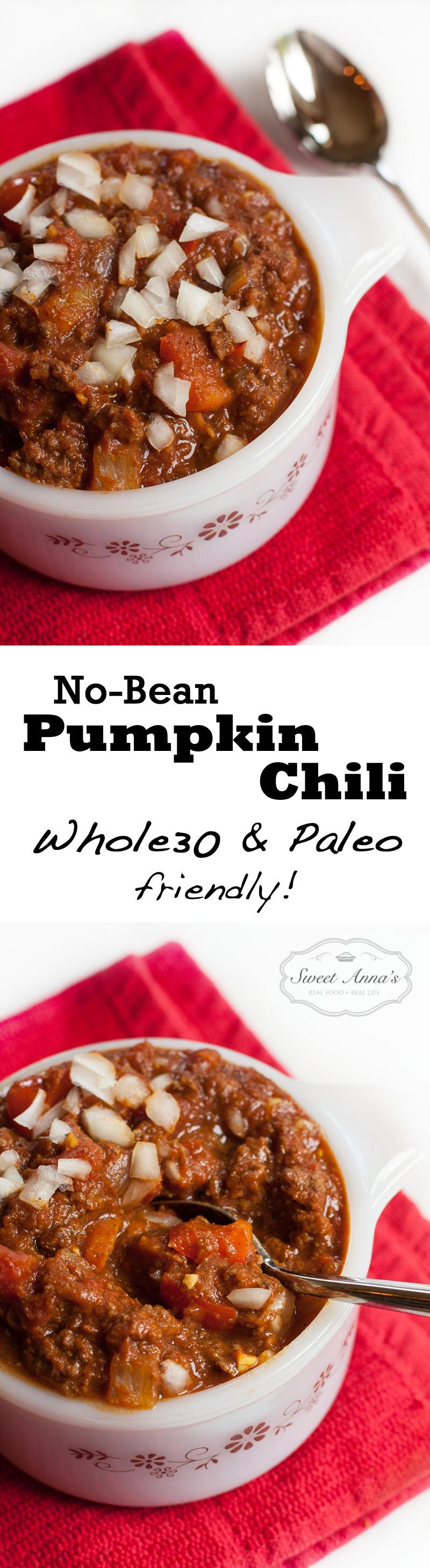 No-Bean Pumpkin Chili (Whole30 & Paleo friendly!) | Sweet Anna's
