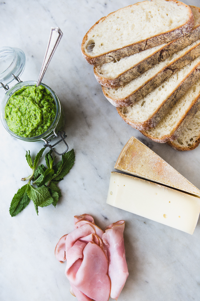 ham & gruyére grilled cheese with sweet pea spread