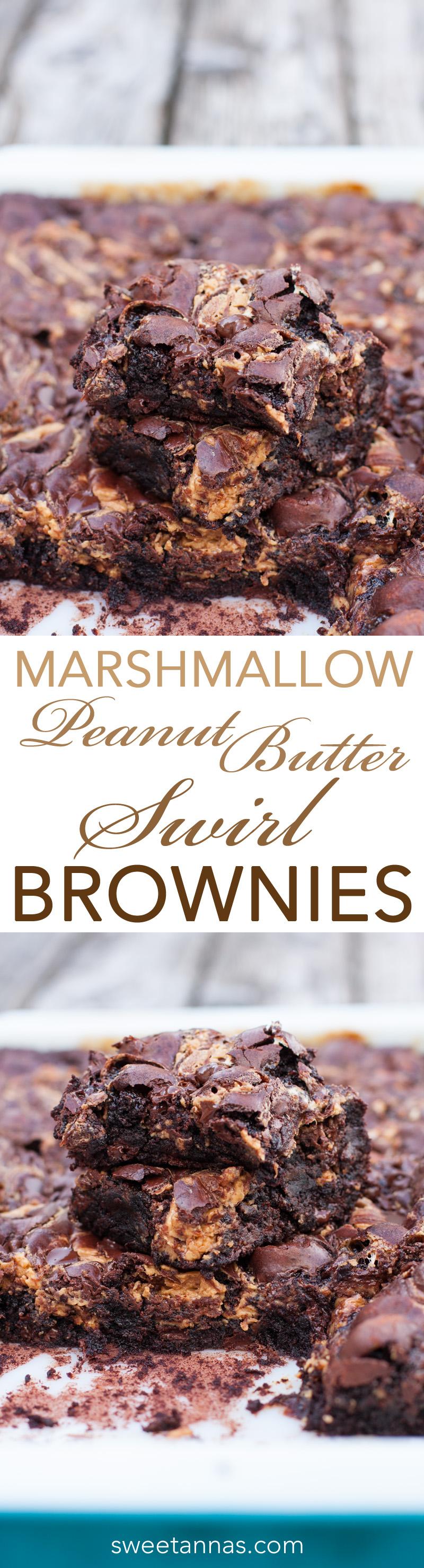 Marshmallow Peanut Butter Swirl MADE-FROM-SCRATCH Brownies! (Gluten Free OR Gluten Full!) | sweetannas.com